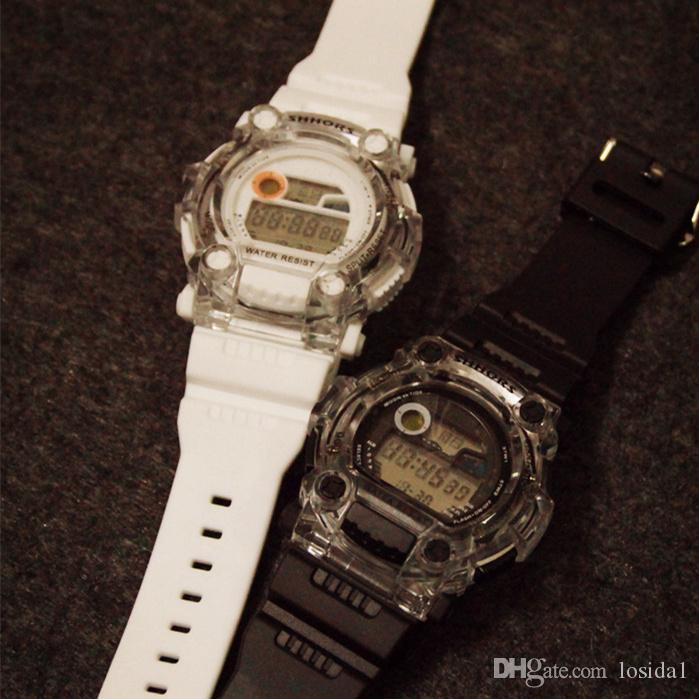 Erkek Moda LED Spor Saatler 2019 Çocuklar Kadınlar Unisex LED Dijital Saat Saatler Kauçuk Kayış Kuvars Saatı Japonya Hareketi saatler
