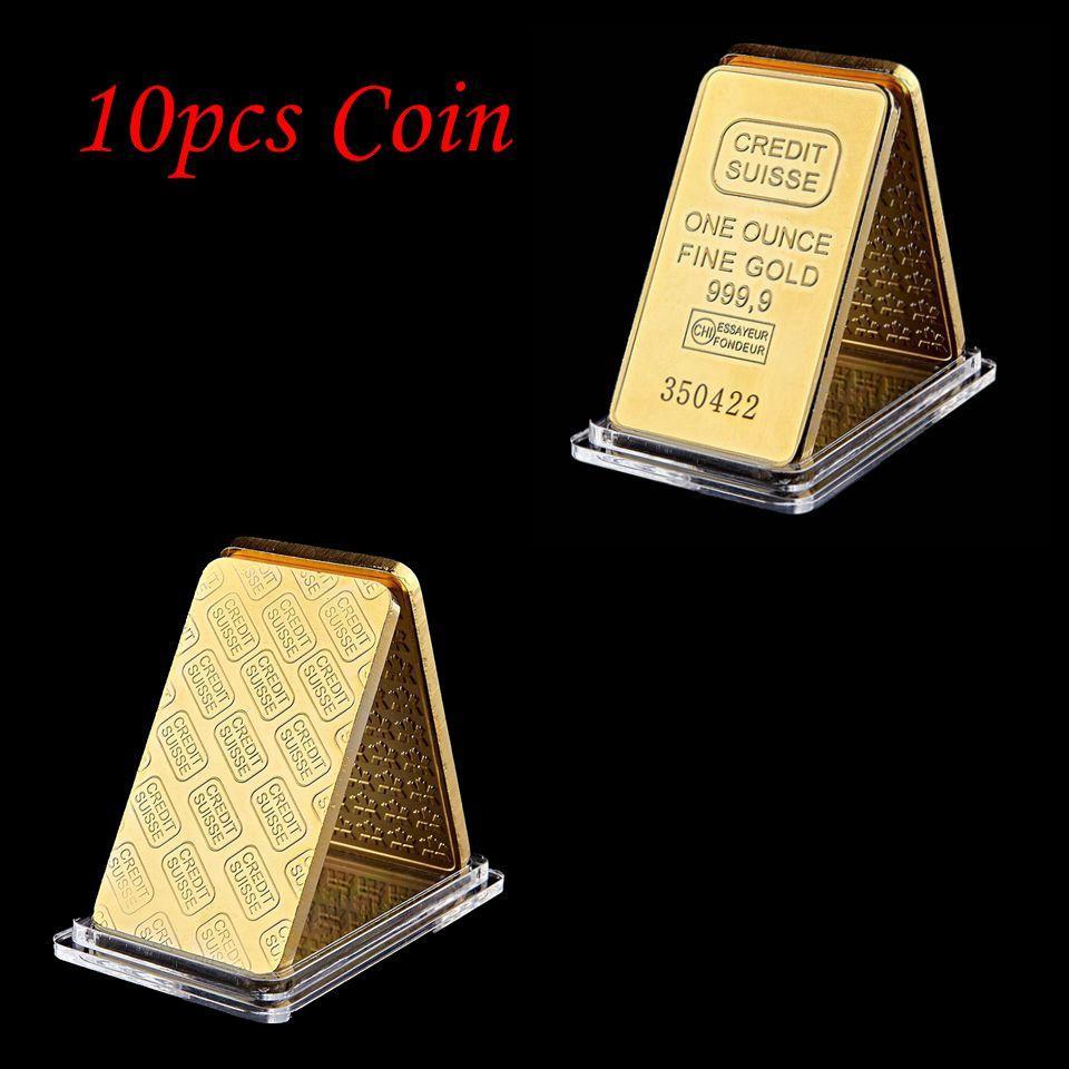 10pcs Metal Creft Credit Suisse Ingot 1oz Gold Plated Bullion Bar Swiss Souvenir Regalo di moneta 50 x 28 mm con diverso numero laser seriale