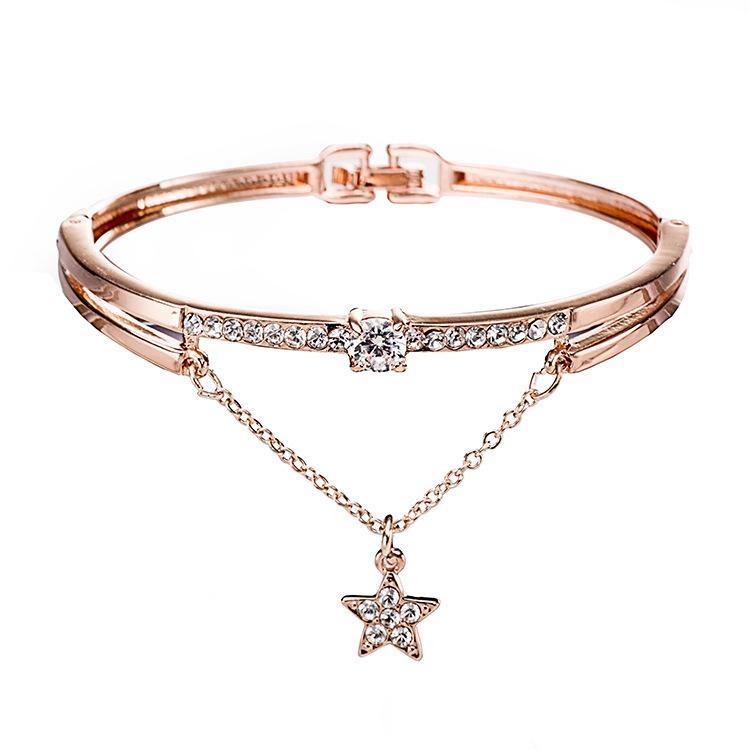 Kız Aksesuar Kadınlar Moda Bilezikler Baklalı Zincirler Yapay elmas elmas Yıldız kolye Charm Bilezikler Takı Sevgililer Günü Hediye