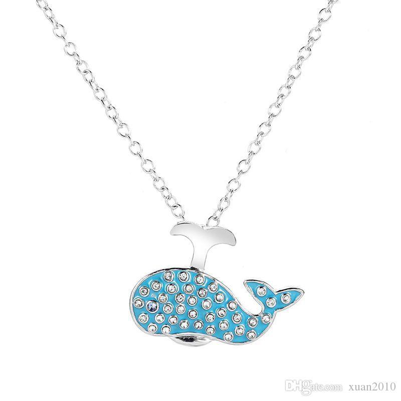10pcs Avrupa ve Amerikan Moda yeni mavi sevimli balina kolye karikatür deniz hayvanları kolye kolye kişilik kadın aksesuarları T-159