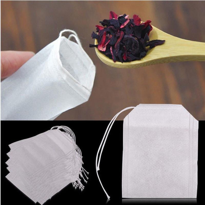 100pcs / pacote de chá de filtro sacos descartáveis folha solta Tea Infuser segurança e meio ambiente Food-Grade cordão sacos de chá