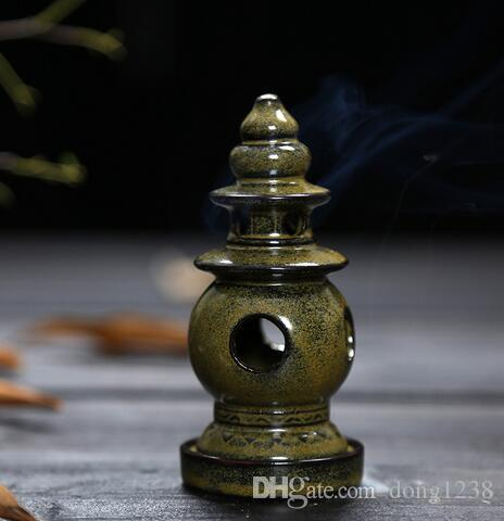 Special Tower Incense Burner Purple Clay Censer Ceramic Mini House Burner Ancient with 20 Coins Incense Cone