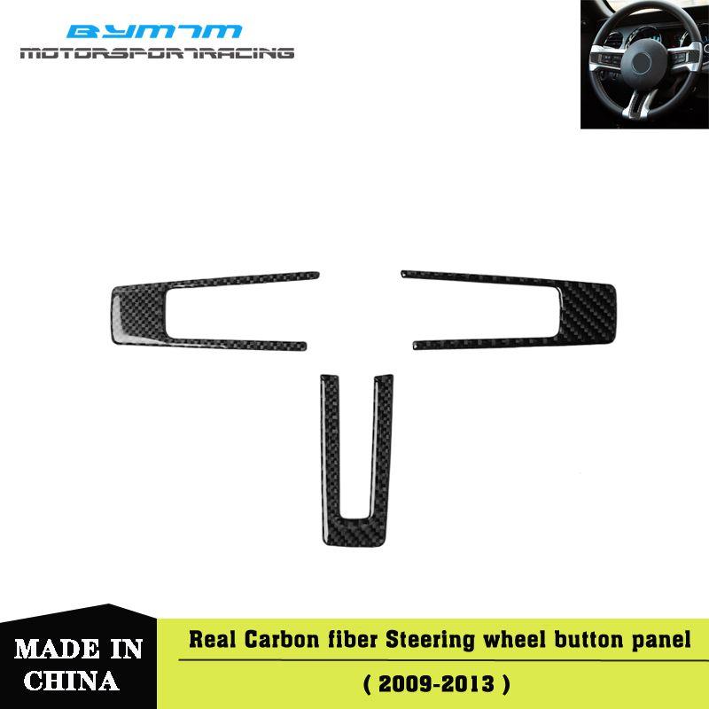 Moulage intérieur voiture Garniture Bouton Volant Cadre réel en fibre de carbone autocollants Autocollants Pour Mustang