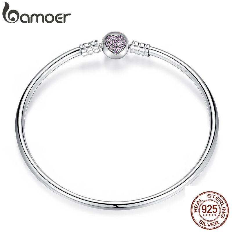 BAMOER Auténtico 100% 925 Serpiente de plata esterlina pulsera de cadena del brazalete del corazón de la joyería de lujo PAS904 CX200612