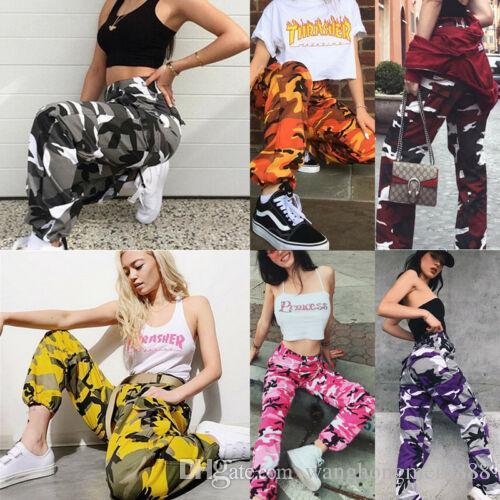 Streetwear Camouflage Cargo Pants Beiläufige Pluderhosen Capris Frauen Hohe Taille Jogger Mode Hip Hop Camo Military Lange Hosen