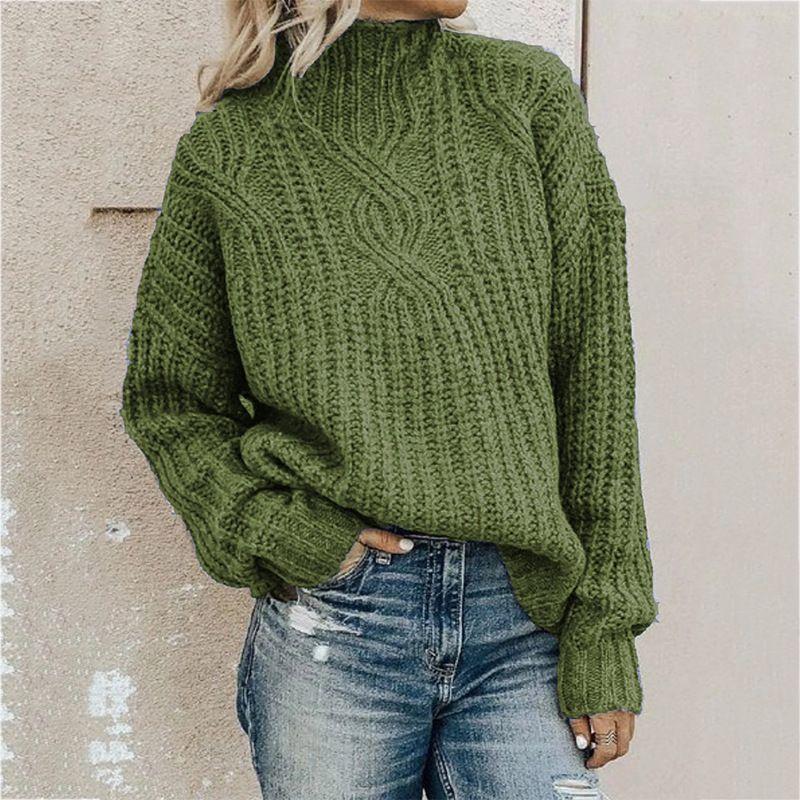 Высокое качество Мода свитер Женщины водолазку Twist Вязаная фуфайка пуловер свитер Tops 4 Цвет Размер S-2XL свободный корабль