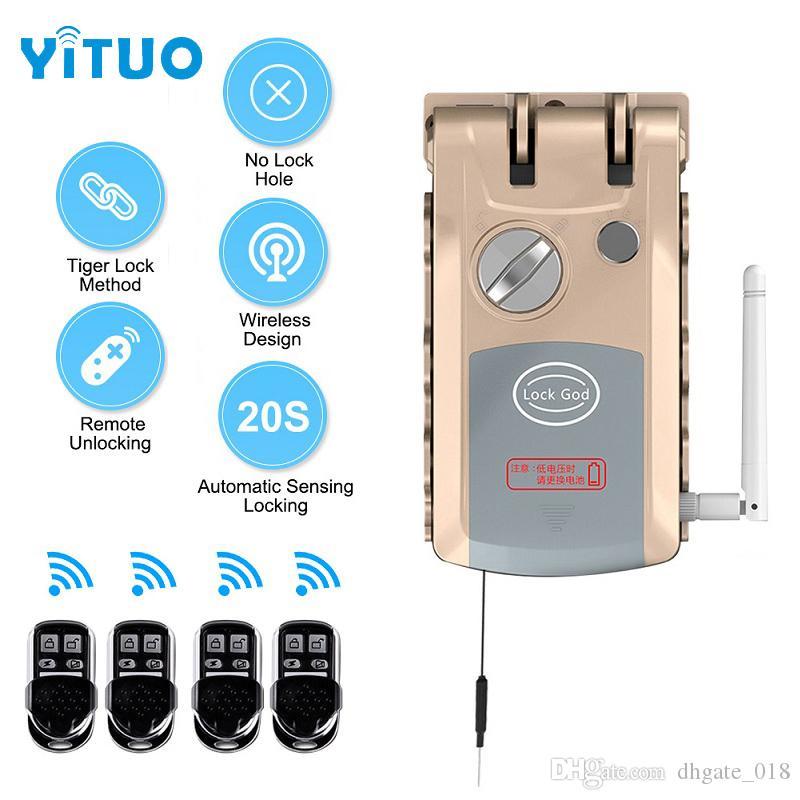 Aço inteligente Porta inoxidável Elétrica Bloqueio Dual Core Remote Control Smart Lock Ideal para o Office Home Hotel Home Security Seguro