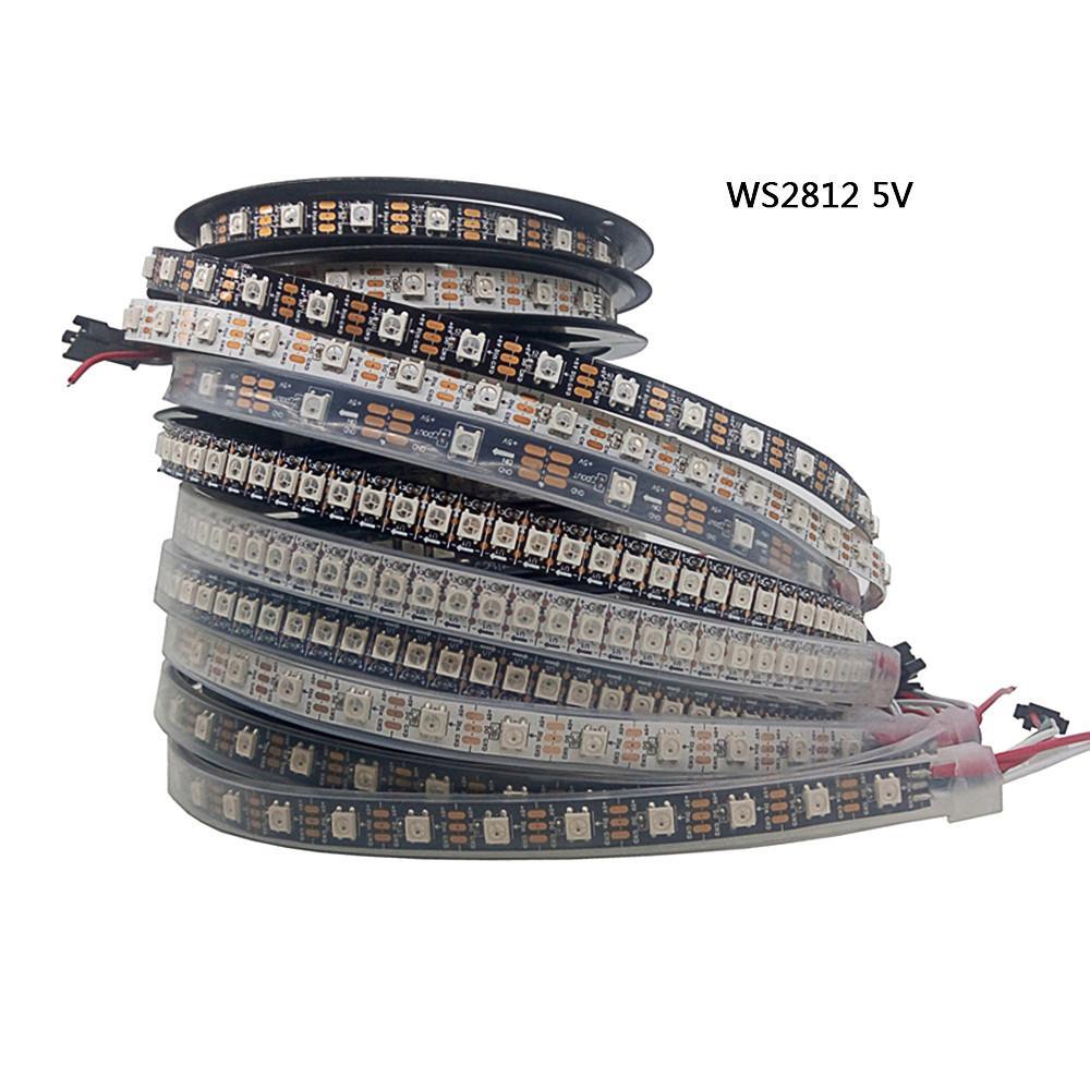 5m WS2812B Led 스트립 픽셀 / LED는 / m 스마트 RGB Led 빛 스트립 블랙 / 화이트 PCB IP30 / 67분의 65 DC5V WS2812은 스트립을 주도 30/48/60/144