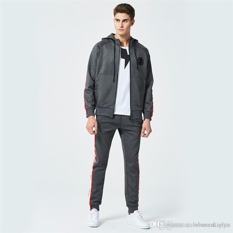 Когти Print Spring Hooded 2PCS Мужские костюмы с длинным рукавом Свободные Mens Спортивные наборы Фитнес Бег Мужской Одежда