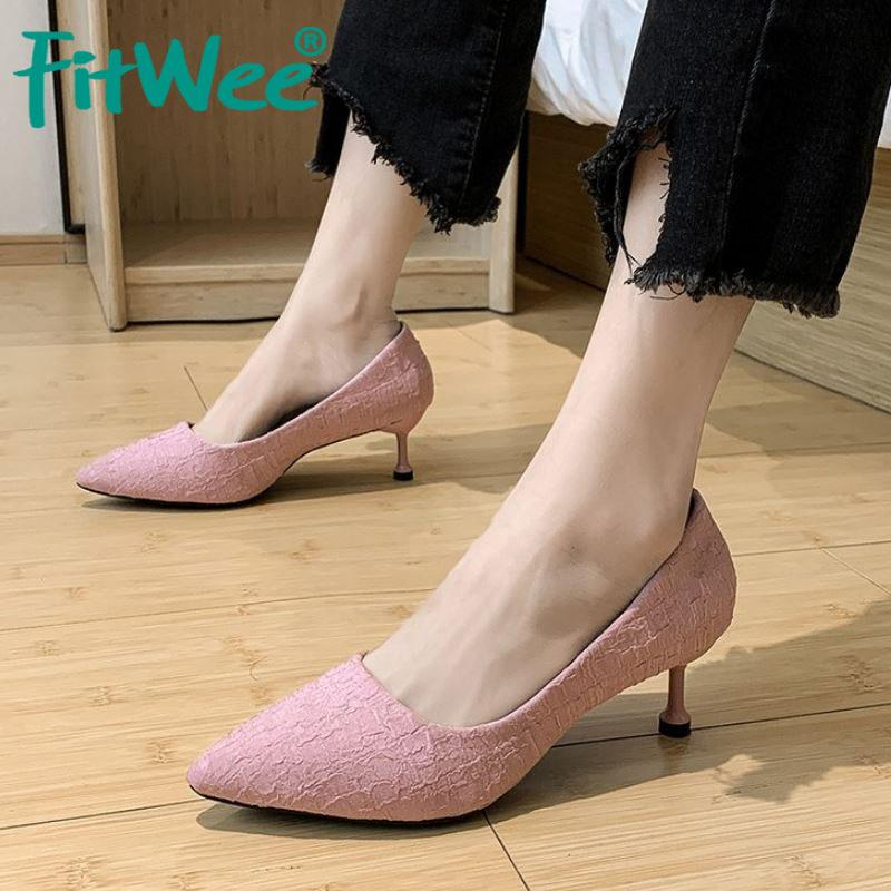 Fitwee Pumps Shoes For Ladies Stylish Pointed Toe Solid Color Shoes Women Thin High Heels High-Quality Footwear Size 34-40