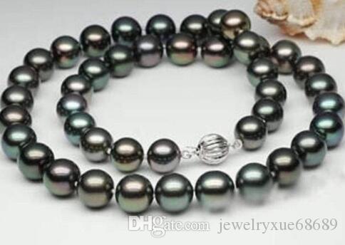 """-Nouveau style- -hot 8-9mm 100% NATUREL Collier de perles noires naturelles de Tahiti 17 """"cadeau femme 14K -jewelryp [k"""