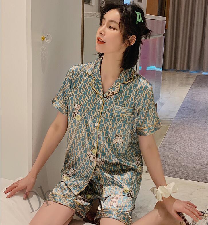 2020 Spring Latest PajamaGreen Pajama Ice Silk Thin Short-sleed Home Service Women's Net Red Lapel Short Version