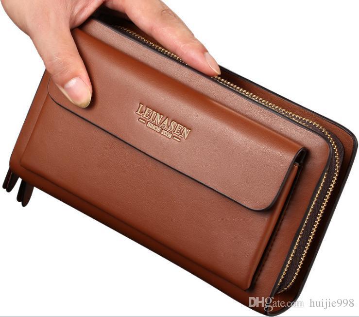 Men Long Wallet Leather Zipper Clutch Bags Card Phone Holder Banknote Clip Purse