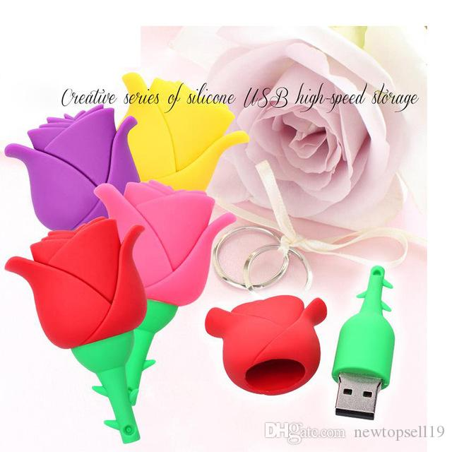 Colorful Rose flower pendrive 4GB 8G 16G 32G 64GB u disk USB Flash drive Pen Drive Memory Stick usb Thumb Stick best gift