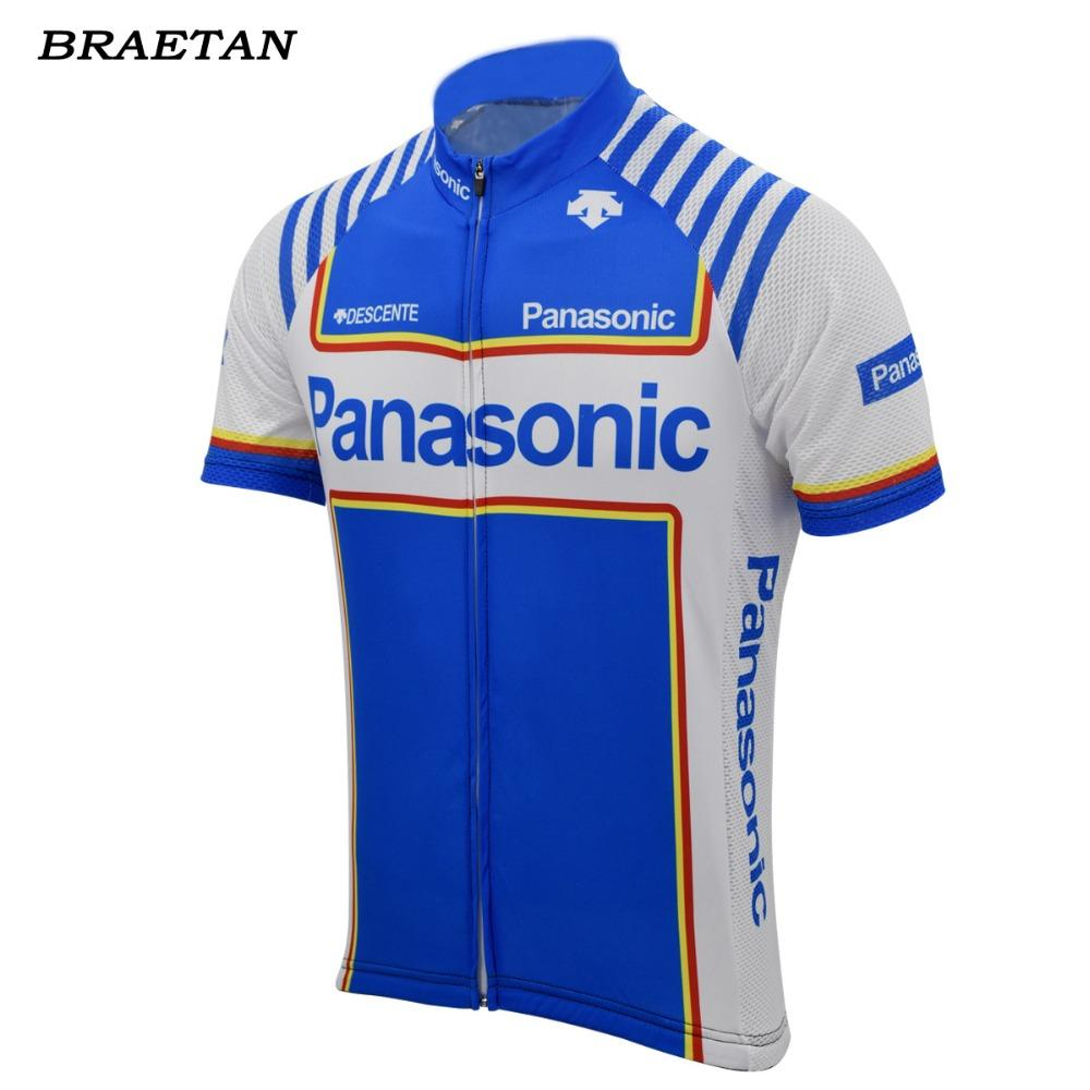 2018 hombres retro completa un ciclo jersey azul clásico desgaste de la ropa de ciclo de ropa bicicleta que compite con la ropa de verano hombre braetan