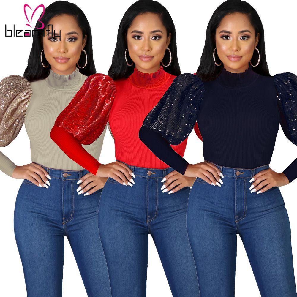 2020 Nouveau Automne Hiver Femmes Tops pull longue manches bouffantes O-Cou Solide couleur Paillettes mince Blouse Casual Streetwear