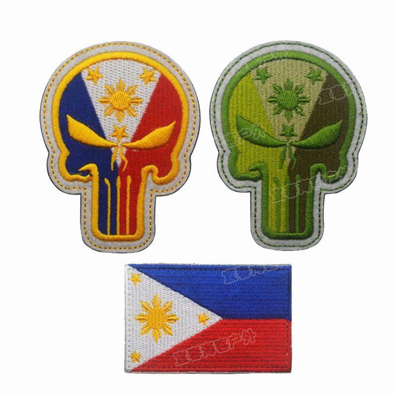 Insignia de bordado 3D de Filipinas Punisher Bandera de Filipinas Tácticas militares Insignia de moral Ropa Mochila Vaqueros Parche decorativo