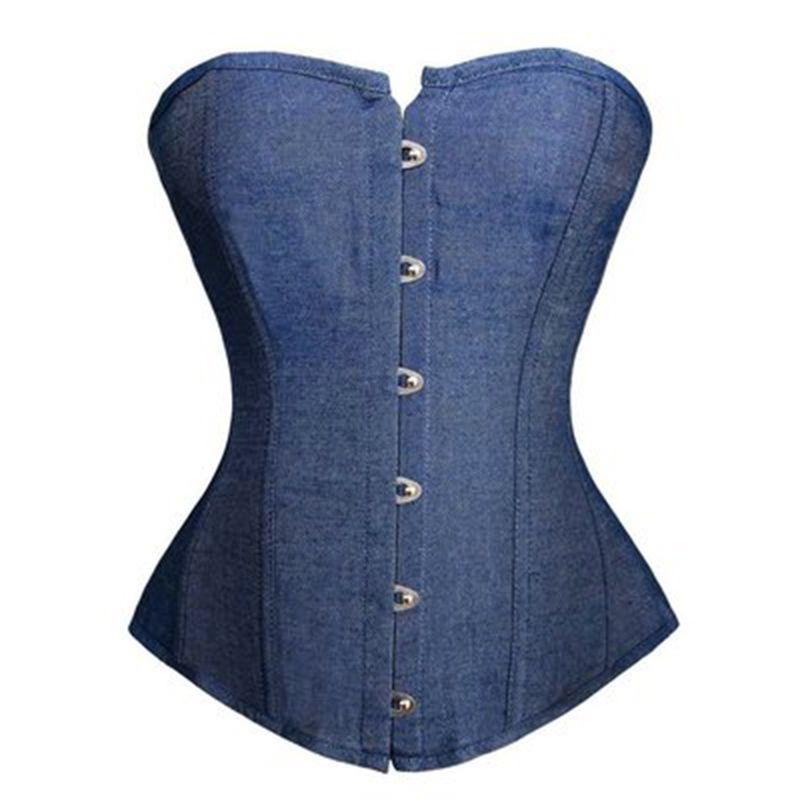 Женщины синий денима джинсы Overbust корсета плюс размер S-6XL Классический Шнуровка Пластиковые Boned Бюстье Белье Clubwear Night Out Косплей Outwear