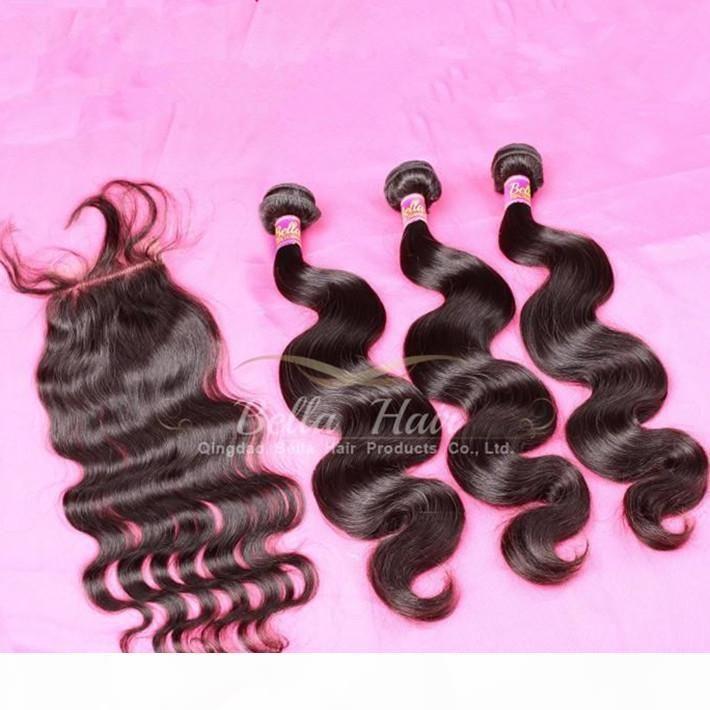 نسج غير المجهزة الشعر الهندي الإنسان لون طبيعي الجسم موجة الشعر حزم مع الدانتيل إغلاق شحن مجاني