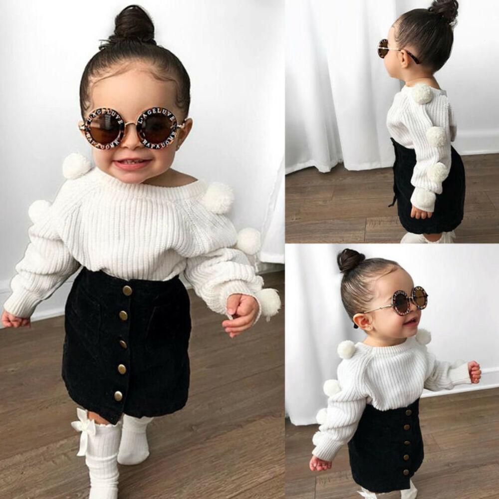 Tout-petit bébé enfants filles Hairball Hauts en tricot + bouton Mini-jupe Réchauffez Tenues Sets