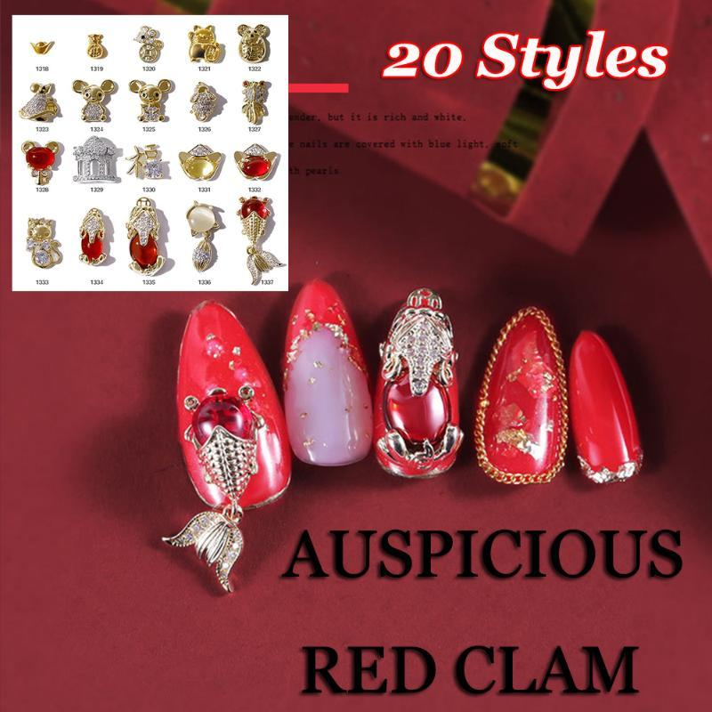 1PC 3D Crystal Nail Rhinestones Ingots Zricon Alloy Jewelry Decor Cute Mouse Goldfish Chinese Style Nail Art Decoration Tools