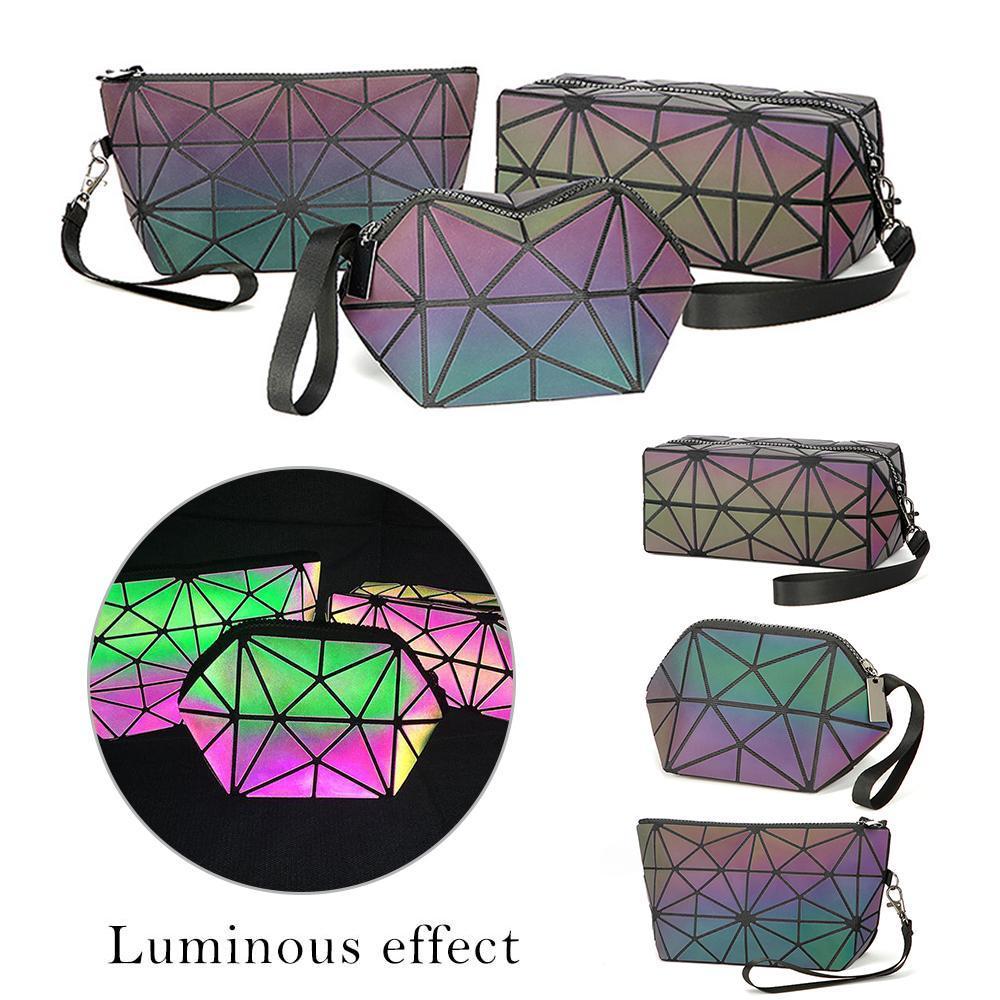Shujin Moda feminina Zipper Cosmetic Bag Luminous Maquiagem saco geométrica Cosméticos Organizador Folding Viagem Make Up Bags
