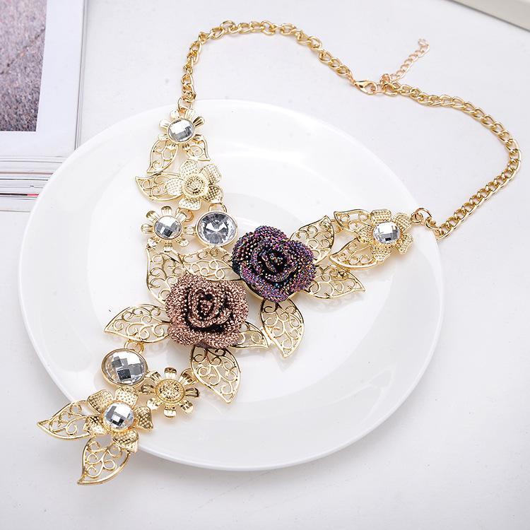 Винтажные полые цветы свадебный комплект украшений европейский и американский стиль женщины комплект украшений жемчужный комплект украшений