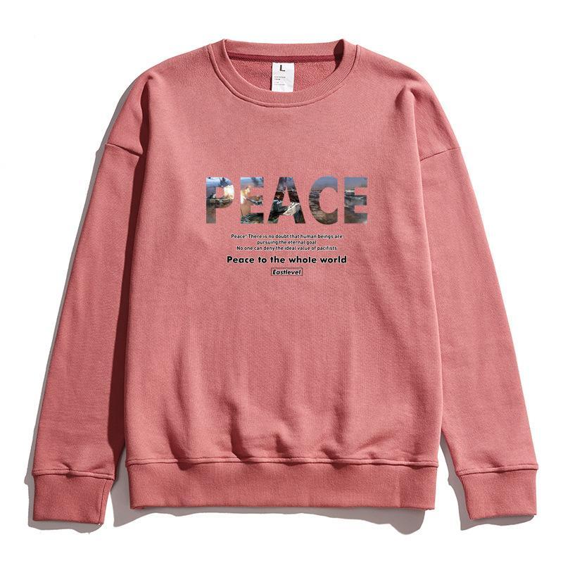 19 Pink Sweatershirt Для женщин людей Большие буквы PEACE Печать Sweatershirts Свободный дизайнер бренда Пуловер верхнего качества Весна Осень B101716V