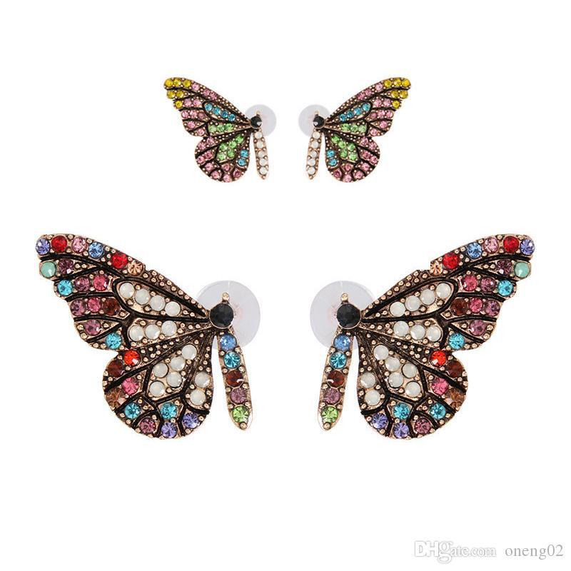 Prego Cor Original New Vidro completa da asa da borboleta Brinco com temperamento simples Brincos Cristal 2019 New exclusivo design de jóias