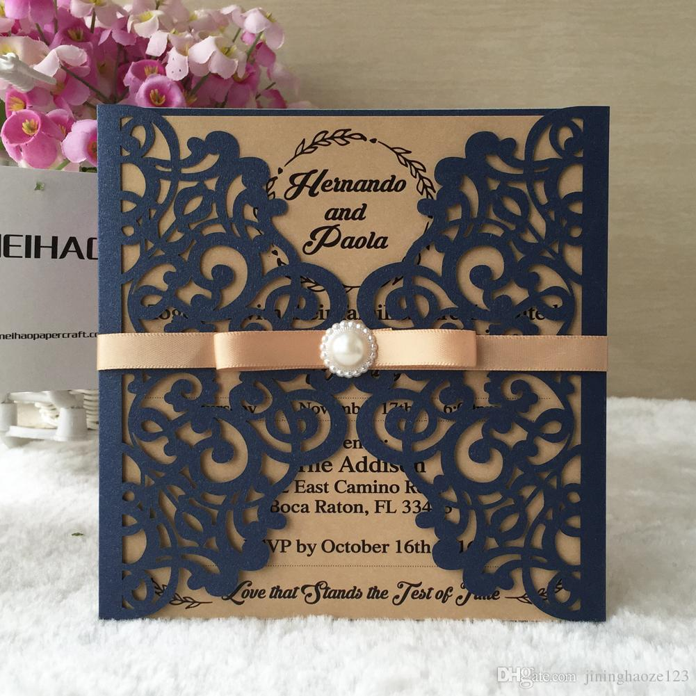 Royal Luxury Deep Blue Butterfly Gate With Ribbon Laser Cut Pearl Paper  Fold Envelop Wedding Invitation Birthday Party Dinner Customizable Greeting  Cards Customized Cards From Jininghaoze123, $1.08| DHgate.Com