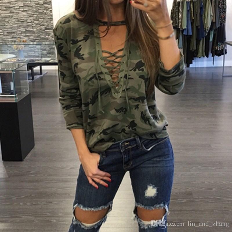 Горячая камуфляж печати блузки новая осень женщины рубашки дамы Sexy с длинным рукавом выдалбливают кружева V шеи повседневная топы Blusas