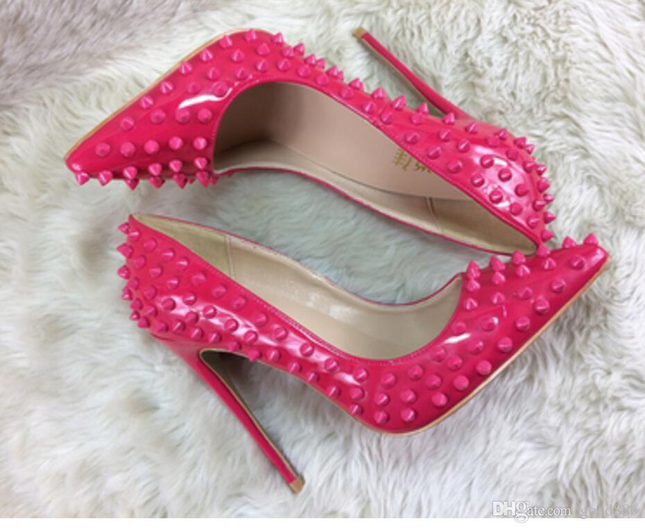 NOUVEAU type Rose Rose Rivé Chaussures à talons hauts à talons à talons fins Chaussures pointues Discothèque Chaussures de nuit 8cm 12cm 10cm Large taille 44 robe de mariée