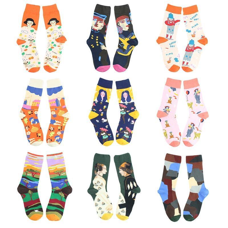 Art rétro ins Français niche chaussettes Morandi chaussettes colorées dans le milieu tube
