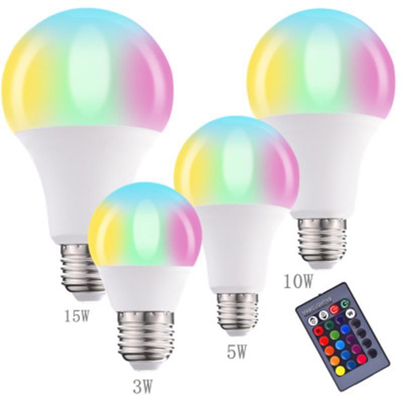 الساخن بيع أدت بعيد مصباح المصباح ضبط تغيير لون أدى ملونة RGB لون لمبة البلاستيك يرتدون الألومنيوم مصباح الذكية