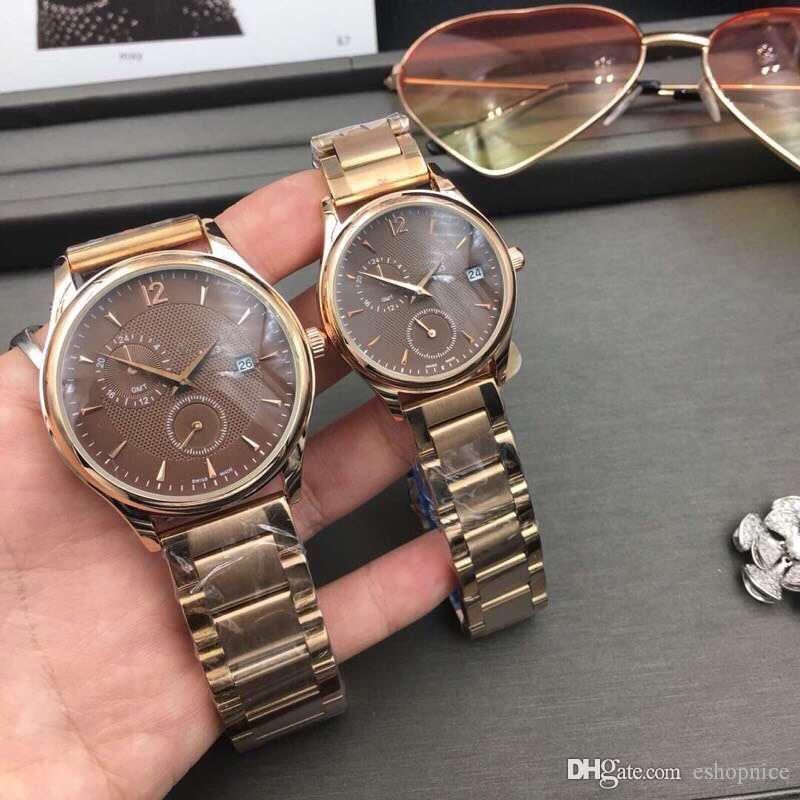 Fashion Lovers' men women watches rose gold Full Stainless Steel band all dials work wrist watch for ladies mens Valentine Gift