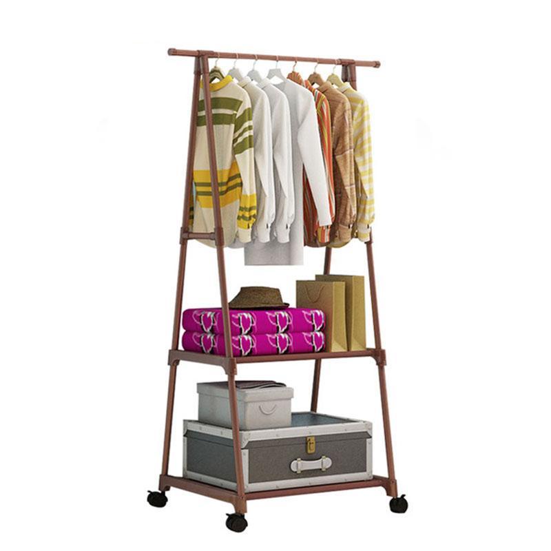 Multifunktionale Dreieck Einfach Garderobe Edelstahl Abnehmbare hängende Kleidung Aufhänger Bodenständer Kleiderständer Räder