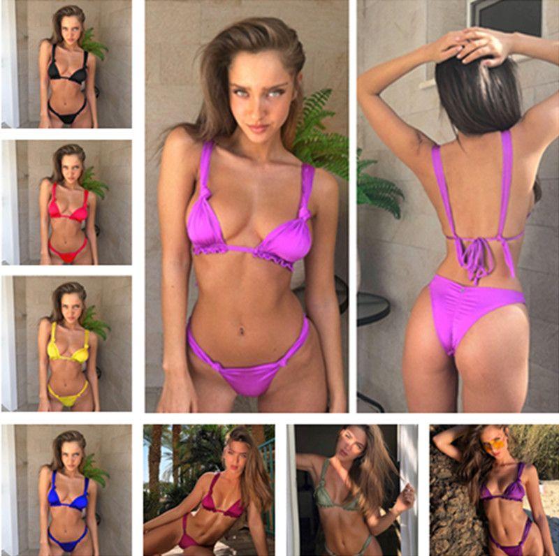 2018 Nuevas mujeres sexy bikini set Verano caliente 8 trajes de baño de color Alta calidad push up traje de baño vendaje sólido traje de baño caliente biuqinis