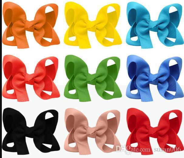 3 pollici Ragazze solidi archi dei capelli 25 colori delle clip Candy disegno dei fiori dolci dei capelli delle ragazze Boutique Accessori capelli