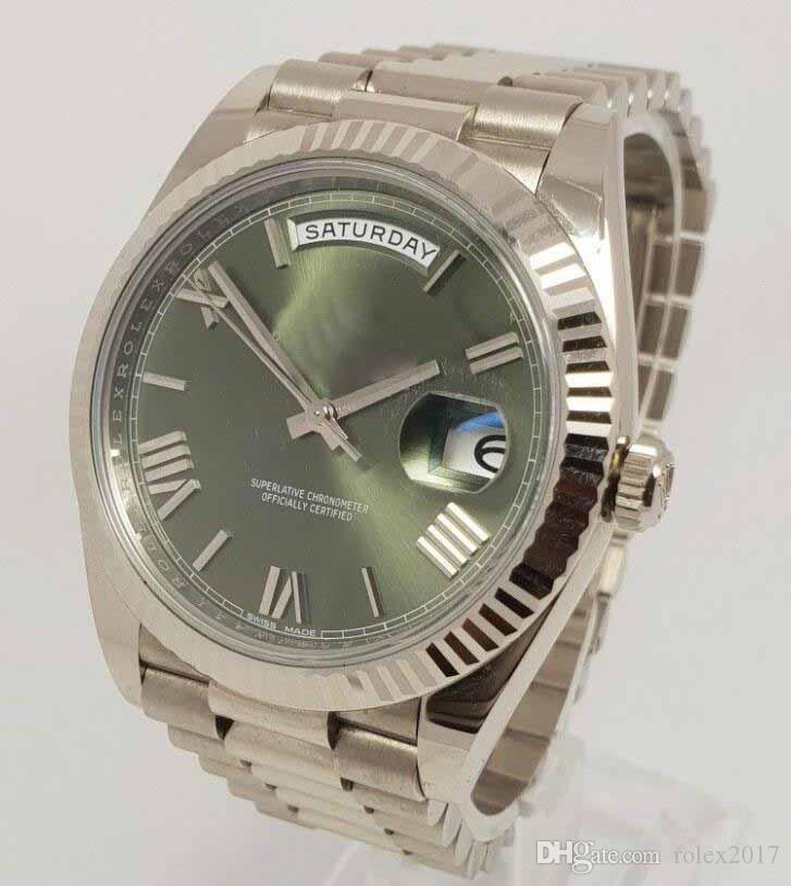 Productos de lujo para hombres Calidad clásica Día Fecha 40mm 228239 Presidencial 18K Oro blanco Verde oliva Reloj de esfera 2018 Movimiento Reloj automático