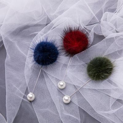 Lindo encanto de la perla Broche para el regalo de las mujeres coreanas de piel de bolas Piercing solapa broches de collar de la joyería suéter para las muchachas de las mujeres