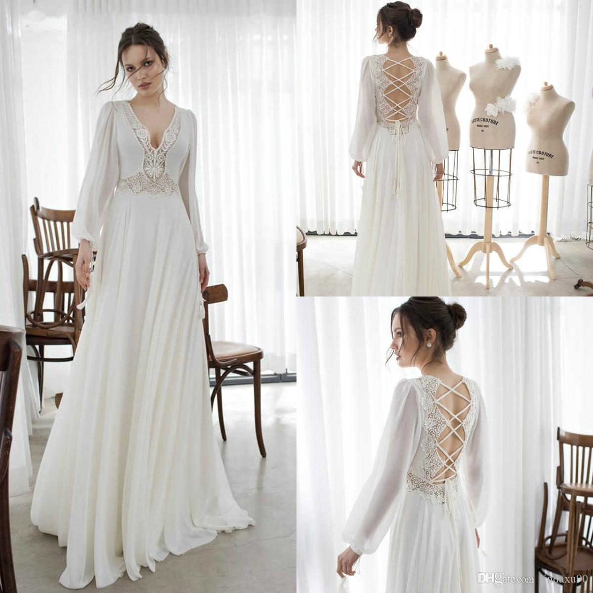 Asaf Dadush 2019 Long Sleeve Boho Wedding Dresses Bohemian Lace Appliqued V Neck Wedding Dress A Line Beach Bridal Gowns Robe De Mariee