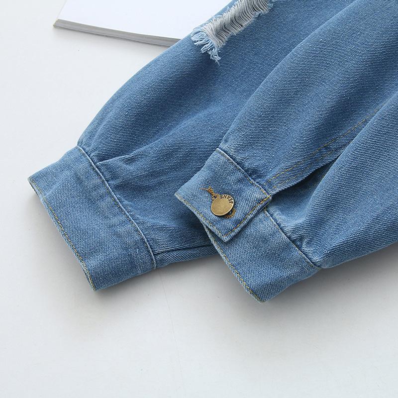 Grande Brasão Tamanho Jeans Plus-sized Feminina Tamanho Coreano de estilo Novos produtos com furos Tops bordados além do tamanho de 200 Slimming C