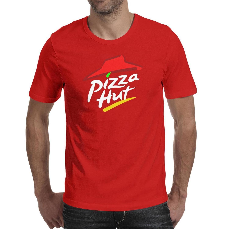 Mens Pizza Hut's logo sign symbol Fashion T shirt Printing Funny Cotton Shirts Humorous Short sleeve Tees pizza hut israel Hut black 3D