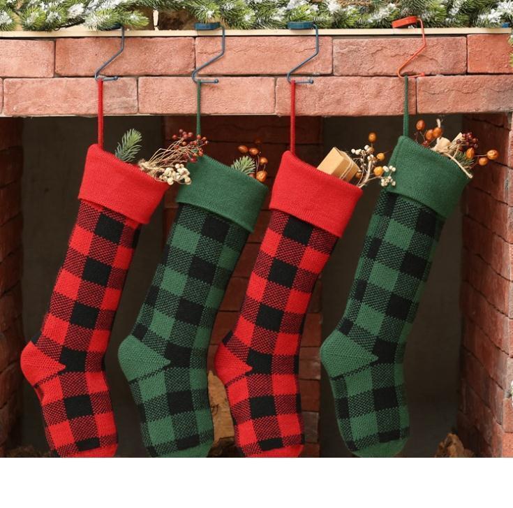 200pcs gros tricot de Noël Bas Buffalo chèque personnalisé Bas de Noël Plaid de Noël décorations de Noël intérieur Stocking