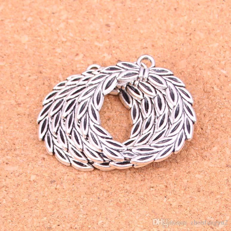 25pcs fascini Olive Branch corona d'alloro d'argento antico pendenti placcati fanno DIY tibetano Handmade Silver Jewelry 34 millimetri