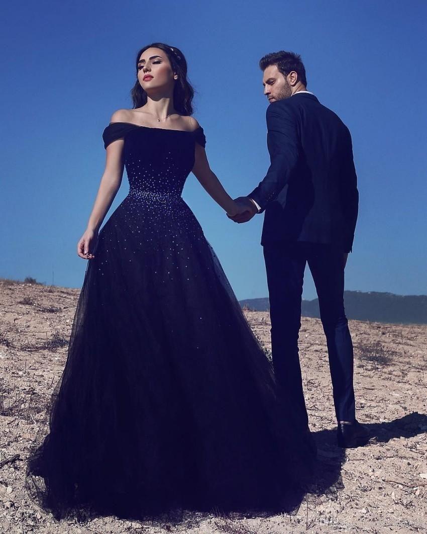 2019 Nuevo 100% imagen real fuera del hombro Azul marino Vestidos de noche Vestidos elegantes de baile de Arabia Saudita Vestidos de noche formales con cordones