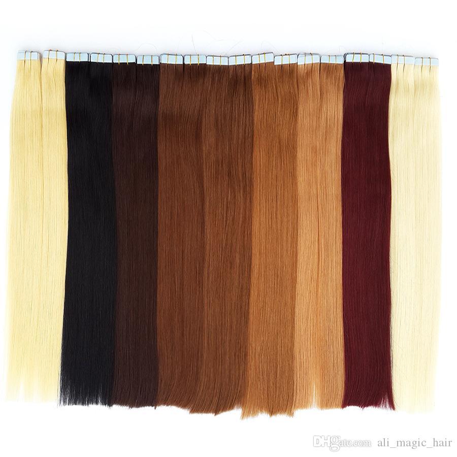 Ventes en ligne Bandes charismatiques Extensions de cheveux Bande de trame de la peau Cheveux Brésiliens Droite Meilleure Qualité Remy Cheveux Humains 12-24 pouces 20 couleurs