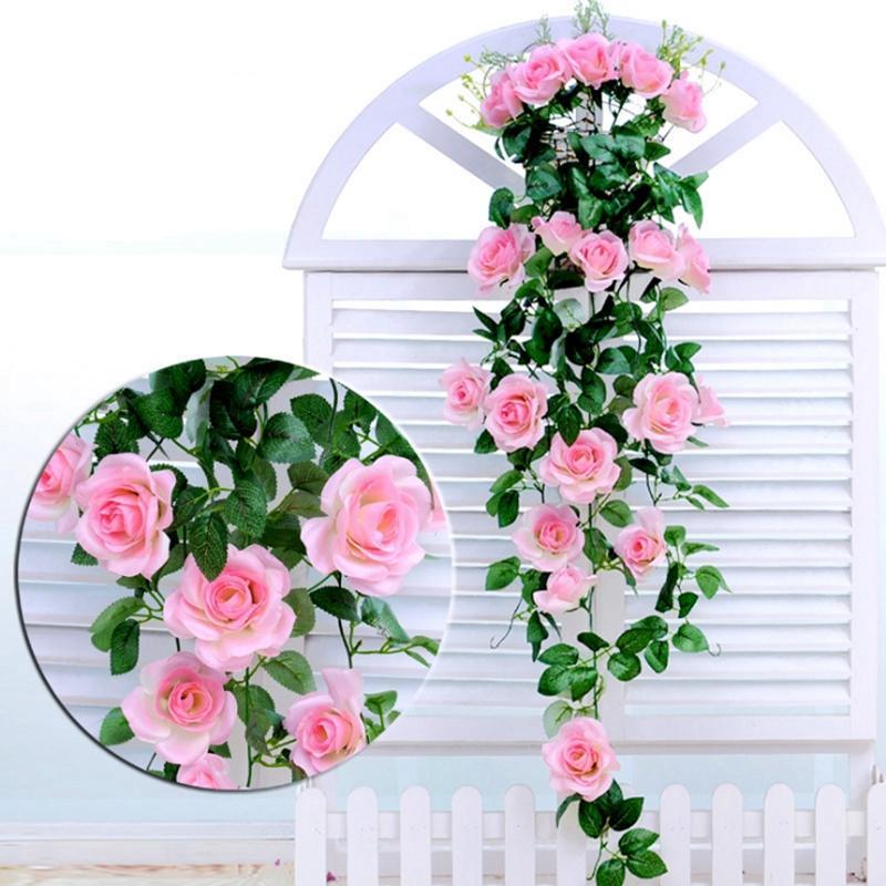 Muro Rose flores artificiais de seda Rosas Rattan Falso Hanging Garland Vine Casamento Casa decorativa Flores casamento Decoration6Colors LQPYW1314