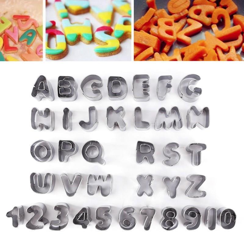37pcs/Set Metal Alphabet Letter Number Decorative Tools Baking,Fruit Cake Decorating Fondant Icing Cutter Mould Biscuit Set