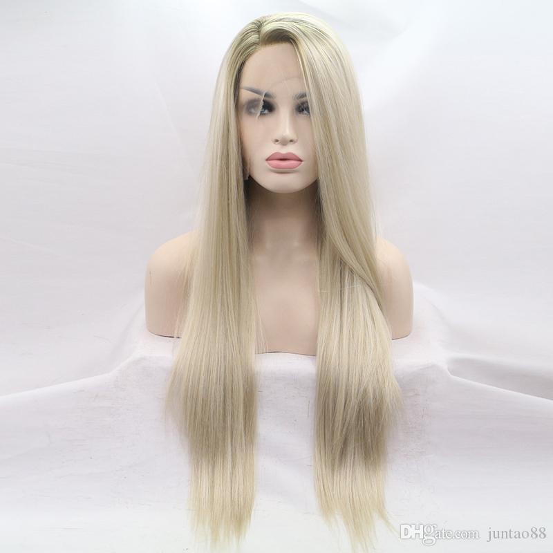 Hot lungo rettilineo parrucche sintetiche dei capelli per le donne termoresistente parrucca sintetica vendita diretta della fabbrica di alta qualità